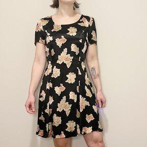 Vintage Betsey Johnson Black Floral Dress 90's S